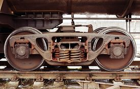 stock photo of train-wheel  - Old train wheel on a old track - JPG