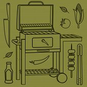 picture of barbecue grill  - Vector illustration of the grill and barbecue beef pork and chicken grilled image ovens barbecue tools and vegetables - JPG