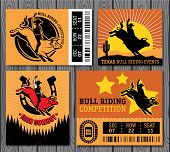 image of bull-riding  - Set of vintage bull riding labels - JPG