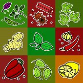 picture of green bean  - Nine images of different foods  - JPG