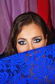 image of harem  - Sexy attractive oriental beauty flirting hiding her face behind a veil - JPG