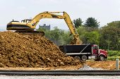 picture of earthwork operations  - Excavator loading dirt and gravel into dump truck - JPG