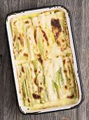 pic of leek  - close up of rustic baked leek gratin - JPG
