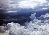 image of puffy  - Blue sky and puffy clouds above central America - JPG