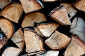 image of firewood  - background of dry chopped firewood logs in a pile - JPG