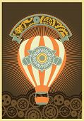 image of mechanical drawing  - Hot Air Balloon Steampunk on the poster with the mechanical elements and gear - JPG