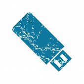 stock photo of usb flash drive  - Grunge blue icon with image of usb flash drive - JPG
