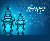 image of kareem  - Beautiful Elegant Ramadan Kareem Lantern or Fanous With Pattern and Lights in Night Background for the Holy Month Occasion of fasting - JPG