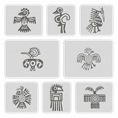 Постер, плакат: set of monochrome icons with American Indians relics dingbats characters part 4