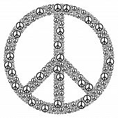 stock photo of peace-sign  - Peace Sign formed by many small peace symbols - JPG