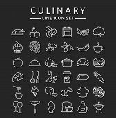 Постер, плакат: Food And Cooking Line Icons Vector Set