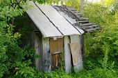 stock photo of forlorn  - old ruined abandoned hut in a scrub - JPG