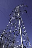 pic of voltage  - The skeletal structure of a high voltage power pole and connecting wires - JPG
