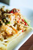 image of green papaya salad  - papaya salad with horse crab close up  - JPG