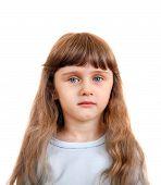 foto of girlie  - Little Girl Portrait Isolated on the White Background - JPG