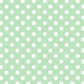 Pastel Green, Big White Polka Dots