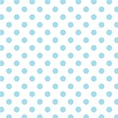 Big Aqua Polka Dots On White