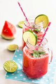 foto of refreshing  - Delicious and refreshing watermelon and lime drink with mint leaves