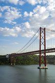 image of suspension  - The 25 de Abril Bridge is a suspension bridge connecting the city of Lisbon - JPG