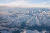 stock photo of andes  - White snowed Andes mountains peaks  - JPG