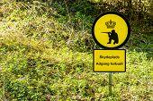 foto of shooting-range  - Danish shooting range warning sign in nature - JPG