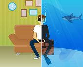 stock photo of track home  - Happy guy is sitting at home and doing scuba diving using head - JPG