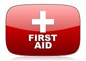 image of first aid  - first aid red glossy web icon  - JPG