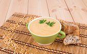 image of peas  - Pea soup in a green bowl with parsley - JPG