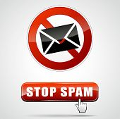 picture of spam  - illustration of stop spam sign with web button - JPG