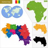 stock photo of guinea  - Administrative division of the Republic of Guinea - JPG