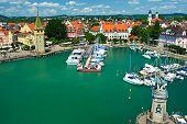 image of bavaria  - Boats at port of Lindau harbour - JPG