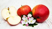 image of apple blossom  - apples and apple tree blossoms on a wooden background - JPG