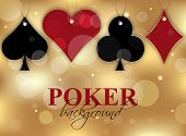 stock photo of gambler  - Poker wallpaper with card symbol on the glittering background - JPG