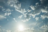 image of cloudy  - Cloudy sky and glowing sun background high res texture - JPG