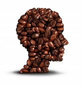 stock photo of headings  - Coffee head concept as a symbol for a barista or a cafe icon person as a group of roasted beans shaped as a human head on a white background - JPG