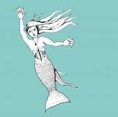 foto of mermaid  - An illustration of a black and white mermaid on a blue background - JPG