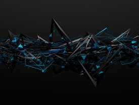 stock photo of pyramid shape  - Abstract 3d rendering of chaotic structure - JPG