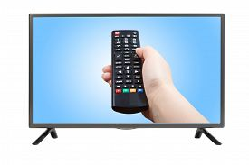 pic of tv sets  - Hand with remote control pointing at modern plasma TV set - JPG