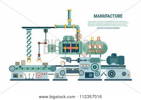 Industrial abstract machine in flat style. Vector illustration