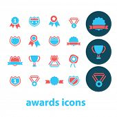 Постер, плакат: award trophy awards icons award concept achievement award ribbon trophy prize icons signs ve