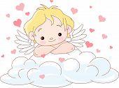 Cute Cupid Lying On A Cloud