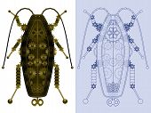stock photo of gizmo  - Robotic cockroach in rendered and blueprint styles - JPG