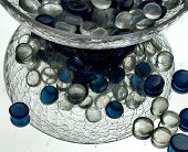 Pebbles In Glass Bowl