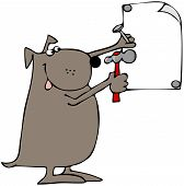 pic of peen  - This illustration depicts a dog nailing up a blank sign with a hammer - JPG