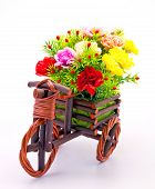 Beautiful And Colorful Flower Bouquet In Wooden Basket In Car Shape, Vertical