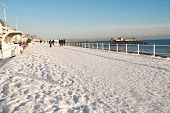 Snow covered seafront, Hastings
