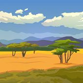 Постер, плакат: Savannah Vector background Mountains