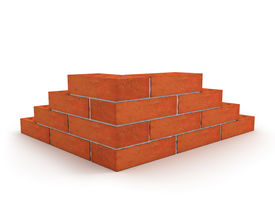 stock photo of cornerstone  - Corner of wall made from orange bricks isolated on white background - JPG