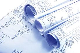 stock photo of electrical engineering  - Engineering electricity blueprint rolls  - JPG