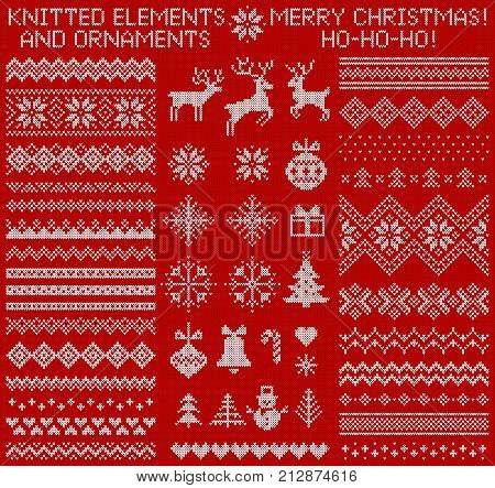 knitted elements and borders for christmas new year or winter design sweater ornaments for scandinavian